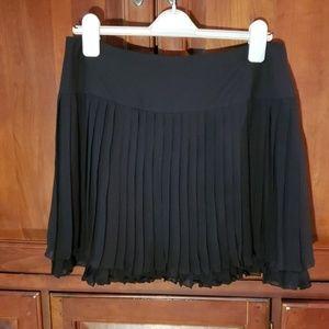 INC Black Chiffon Tiered Pleated Mini Skirt